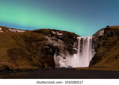 Aurora over Skogafoss
