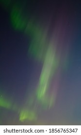 Aurora (Polar lights) in the night sky. Multi-colored northern lights. Amazing atmospheric phenomena in the polar region in the Arctic. Beautiful green borealis. Natural abstract background.