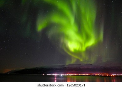 Aurora in Tromso, Norway. The polar lights / Arora hunting