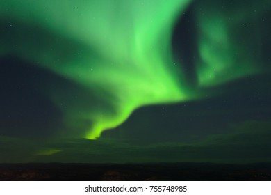 The Aurora in the tundra in the fall.Horizontal.