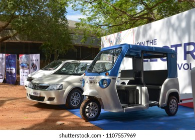 AUROVILLE, INDIA - 05 June 2018: Launching the new Mahindra Electric Cars and Rickshaw