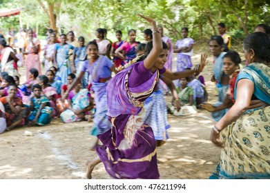 AUROVILLE, INDIA - August 20, 2016: The Bioregional Women's Festival by The Auroville Action Group. Playing Kabadi game.