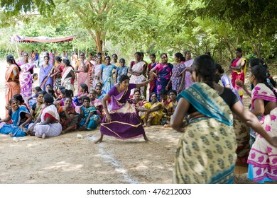AUROVILLE, INDIA - August 20, 2016: The Bioregional Women's Festival by The Auroville Action Group. Playing Kabadi game