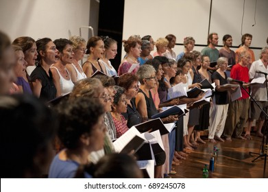AUROVILLE, INDIA - February 2017: Rehearsal for the Auroville choir