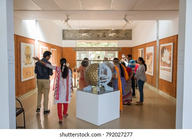 AUROVILLE, INDIA - January 2018: 50th anniversary. The brand new permanent exhibition at the Visitors Centre of Auroville, showing the birth and the life of the city.