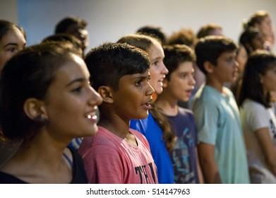 AUROVILLE, INDIA - March 2016: The Auroville choir
