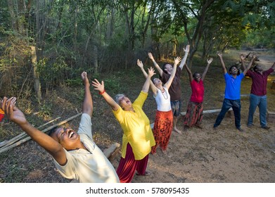 AUROVILLE, INDIA - May 1, 2016: World Laughter Day