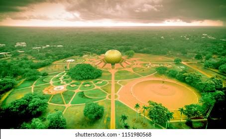 Auroville Matrimandir Drone