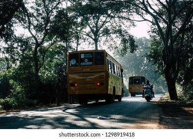 Auroville Tamil Nadu January 24, 2019 View of a school bus from Auroville driving in southern India in the afternoon