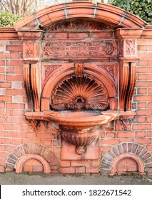 The Aurthur Wilkinson Terracotta memorial drinking fountain erected in 1894 iIn a state of disrepair