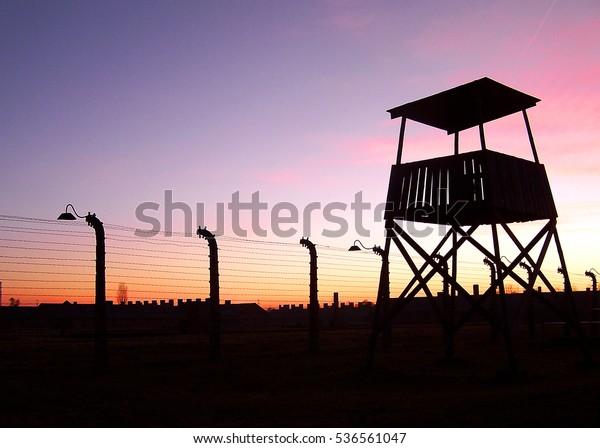 Auschwitz - Birkenau. Barbed wire around a concentration camp.