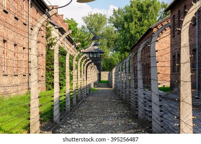 Auschwitz I - Birkenau in between the inner and outer north east perimeter fence
