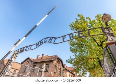 Auschwitz Birkenau Concentration Camp Entrance.