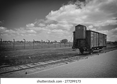 Auschwitz Birkenau a former Nazi extermination camp in Brzezinka, Poland near Oswiecim. This wagon of train has deported prisoners to the camp