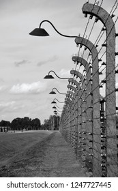 AUSCHWITZ BIRKENAU POLAND 09 17 17: Auschwitz I concentration camp fences was a network of German Nazi concentration camps and extermination camps built and operated by the Third Reich in Poland.