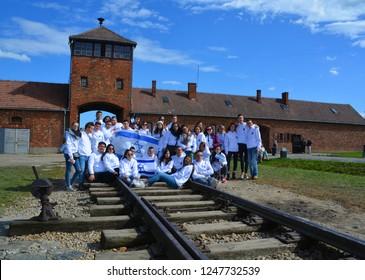 AUSCHWITZ BIRKENAU POLAND 09 17 17: Young Irsareli visit the site of former German Nazi death camp Auschwitz, in Oswiecim, Poland for motivation before theirs military service.