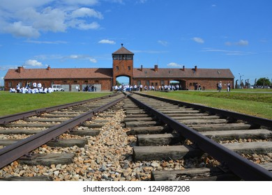 AUSCHWITZ BIRKENAU POLAND 09 17 17: Auschwitz II concentration camp entrance was a network of German Nazi concentration camps and extermination camps built and operated by the Third Reich in Poland.