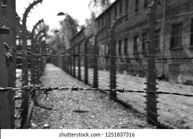 AUSCHWITZ BIRKENAU POLAND 09 17 17:Electric barbed wires of the German nazi concentration and extermination camp world heritage,  Here were exterminated 1.5 million people at the second world war.