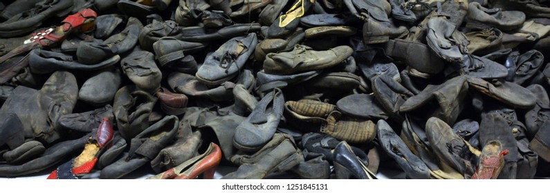 AUSCHWITZ BIRKENAU POLAND 09 17 17:Pile of shoes in former German Nazi Concentration and Extermination Camp Auschwitz-Birkenau. Here were exterminated 1.5 million people at the second world war.