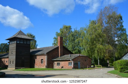 AUSCHWITZ BIRKENAU POLAND 09 17 17: Auschwitz concentration camp barrack was a network of German Nazi concentration camps and extermination camps built and operated by the Third Reich in Poland