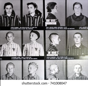 AUSCHWITZ BIRKENAU POLAND 09 17 17: Concentration camp victims photos in German Nazi concentration camps and extermination camps built and operated by the Third Reich in Poland.