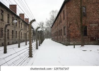 Auschwitz Birkenau, Poland 27 January 2019: Part of Auschwitz Concentration Camp Holocaust Memorial Museum, Arbeit Macht Frei, winter