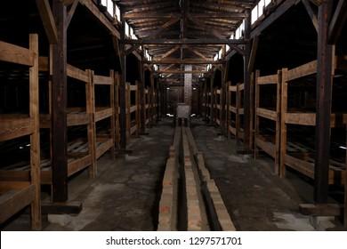 Auschwitz Birkenau, Poland 27 January 2019: Part of Auschwitz Concentration Camp Holocaust Memorial Museum, Arbeit Macht Frei, blockhouse interterior, winter
