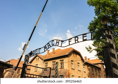 """Auschwitz I - Birkenau; from the reception building, prisoners would proceed through the """"Arbeit Macht Frei"""" gate"""