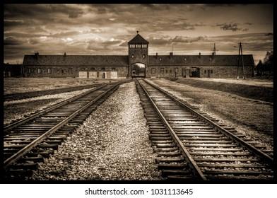 Auschwitz Birkenau without people black and white