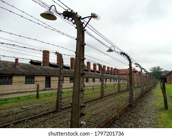 Auschwitz concentration camp buildings in Auschwitz, Poland. Auschwitz consternation camp was complex of concentration and extermination camps operated by Nazi Germany during World War II. 2017-6