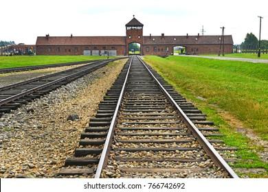 Auschwitz concentration camp landscape.
