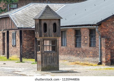 Auschwitz concentration and extermination camp. Booth where the SS man responsible for conducting the roll- call and collecting reports on the number of prisoners took shelter during inclement weather