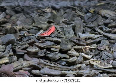 Auschwitz I. Block 5. Some of almost 80,000 shoes that belonged to Auschwitz victims, Oswiecim, Poland