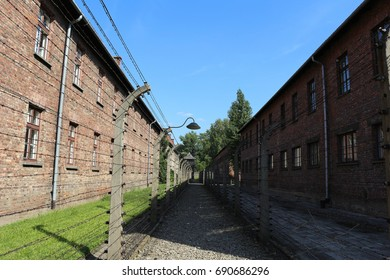 AUSCHWITZ I, POLAND - JUL. 21, 2016: Barbed wire fence at the nazi concentration camp