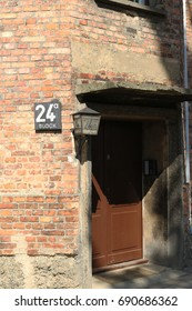 AUSCHWITZ I, POLAND - JUL. 21, 2016: Door of block 24 at the nazi concentration camp