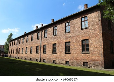 AUSCHWITZ I, POLAND - JUL. 21, 2016: Brick building at the nazi concentration camp