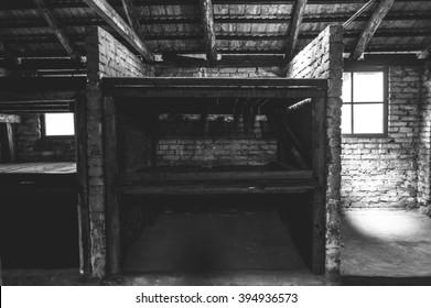 Auschwitz II - Birkenau, aspect of beds at the interior of a brick walled barracks