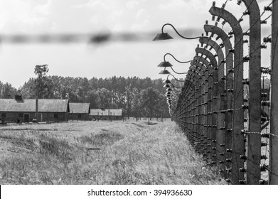 Auschwitz II - Birkenau, aspect of the electrified barbed wire fence