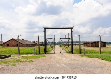 Auschwitz II - Birkenau Sector I gate and outer perimeter electrified fence