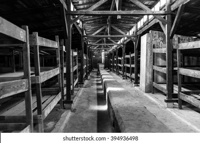 Auschwitz II - Birkenau wooden barracks. The long duct along the center of the floor was supposed to heat the whole barracks from the stoves at either end.