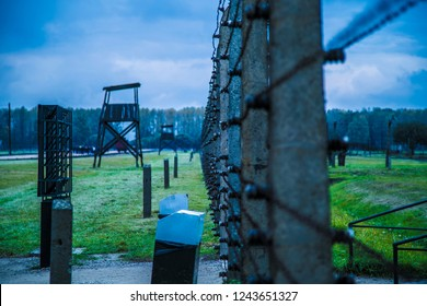 Auschwitz II-Birkenau, the extermination camp in Oswiecim, Poland 10/09/2016. Watchtower, main entrance, Electric fence with barbed wire, shoes and other things belonged to Auschwitz victims.