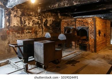 Auschwitz, Lesser Poland / Poland - Feb 04 2018: Auschwitz Birkenau, Nazi concentration and extermination camp.