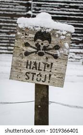 Auschwitz, Lesser Poland / Poland - Feb 04 2018: Auschwitz Birkenau, Nazi concentration and extermination camp. Stop signal.