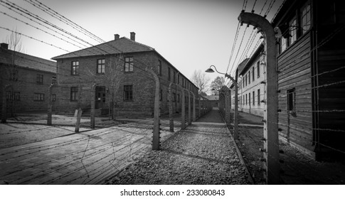 AUSCHWITZ , ON APRIL 4, 2014 IN OSWIECIM, POLAND: The barracks of the Auschwitz Nazi extermination camp.