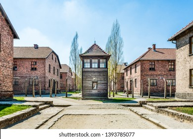 AUSCHWITZ (OSWIECIM), POLAND - APRIL 18, 2019: Guard tower and barracks Auschwitz I (main camp) in Oswiecim, Poland