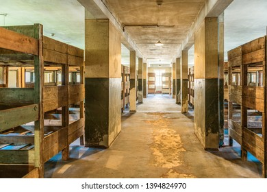 AUSCHWITZ (OSWIECIM), POLAND - APRIL 18, 2019: Original dormitory in barrack Auschwitz I (main camp) in Oswiecim, Poland