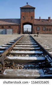 Auschwitz. Poland. 01.29.12. Entrance to Auschwitz II-Birkenau, the extermination camp, where up to three million people came through this gate to be murdered by the Nazis.