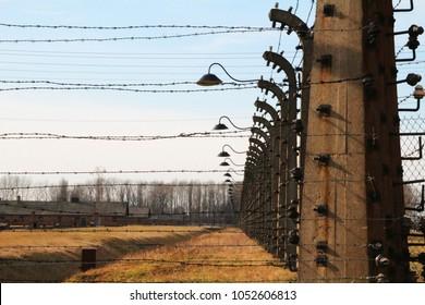 Auschwitz / Poland - 02.07.2016: Concentration camp Auschwitz-Birkenau in Oswiecim, Poland.