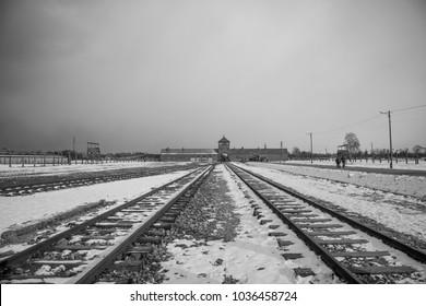 Auschwitz / Poland - 02/24/2018. The entrance of the notorious Auschwitz II-Birkenau.