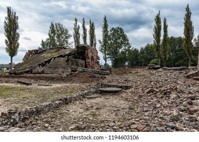 AUSCHWITZ, POLAND - 04 October 2018. Holocaust Memorial Museum. Auschwitz Birkenau, Nazi concentration and extermination camp